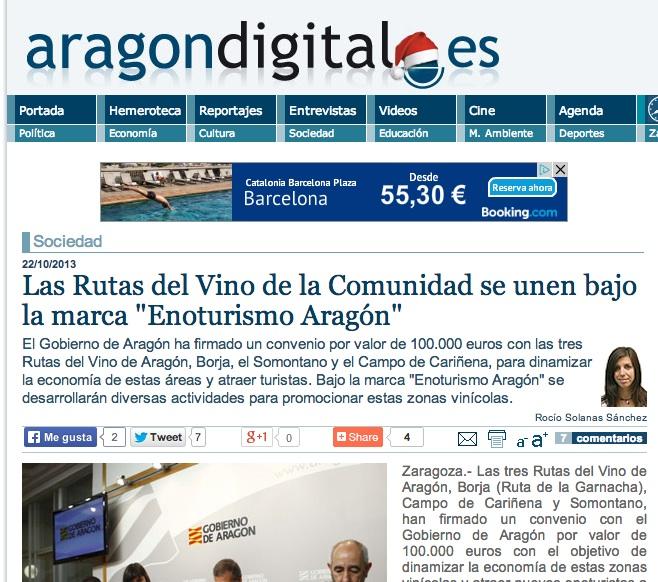 Ya está en el aire Enoturismo de Aragón