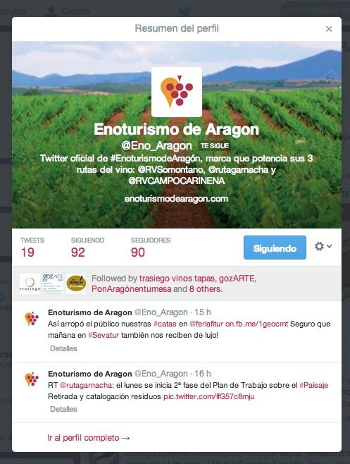 Enoturismo de Aragón en Twitter