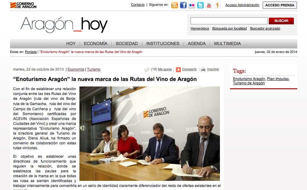 Enoturismo de Aragón en los Medios
