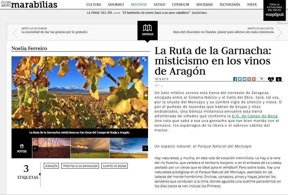 Enoturismo de Aragón en Marabilias de Vozpopuli